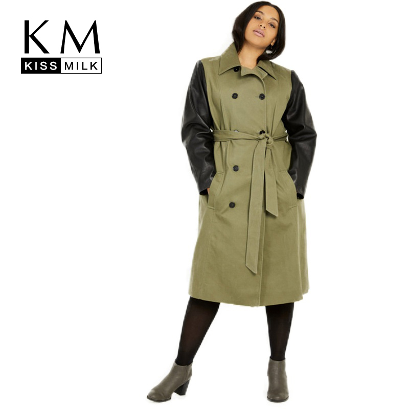Kissmilk Europe And America Style Large Size Casual Temperament Personality Stitching Lapel Belt Double-Breasted Trench Coat