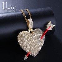 Uwin сердце с кулон-Стрела AAA Iced Out горный хрусталь для мужчин кристалл теннис цепи хип хоп украшения для подарка