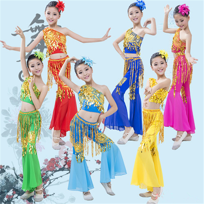 6Color Traditional Chinese Dance Costumes for Girls Festival Outfit Stage Folk Dance Wear Folk Hanfu Peacock Ethnic Clothing