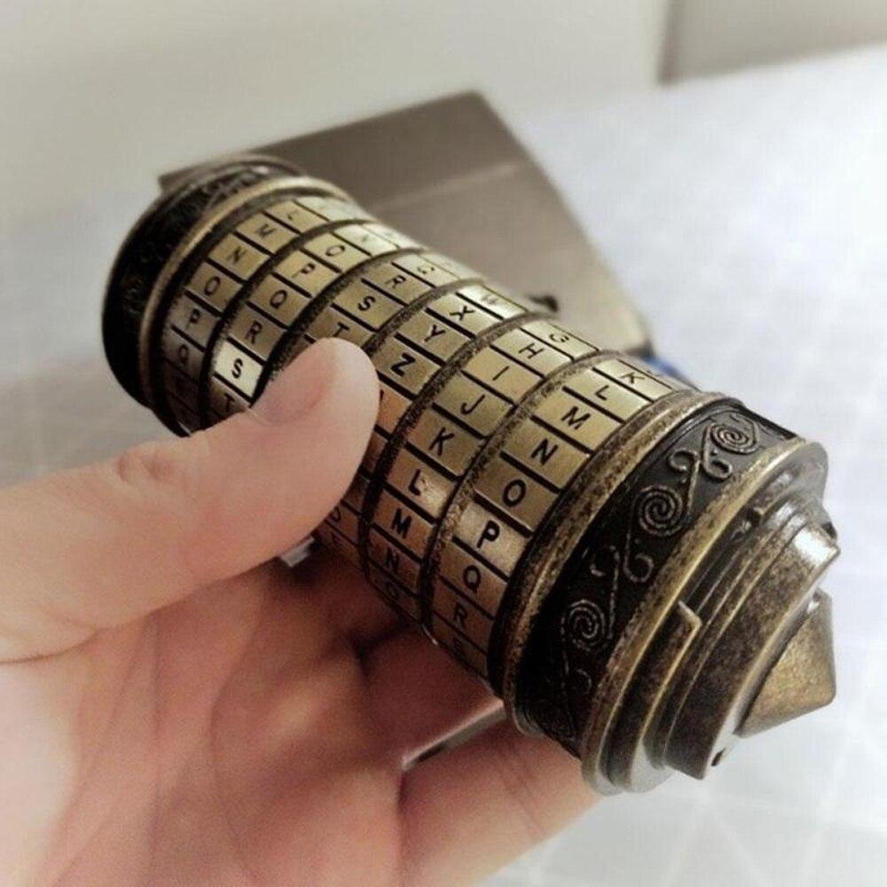 Rétro Anniversaire Valentine Cadeau Boîte Cylindre Boîte Postale Da Vinci Code Alphabet Serrures Cadeaux du Jour de Valentine (mot de passe J'aime u)