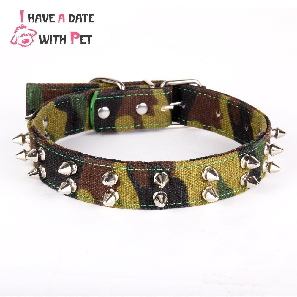 Pet Produkt Army Grön kamouflage Canvas Stor hund halsband Skarp Spiked Studded Lead Pitbull Bulldog för Medium Large Dog Supplies