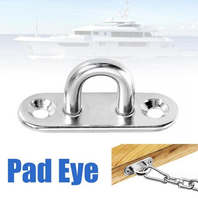 Pad Eye 304 316 Stainless Steel Oblong Plate Staple Ring Hook Loop U-shaped Design Screws Wall Mount Hook Hanger Marine Deck