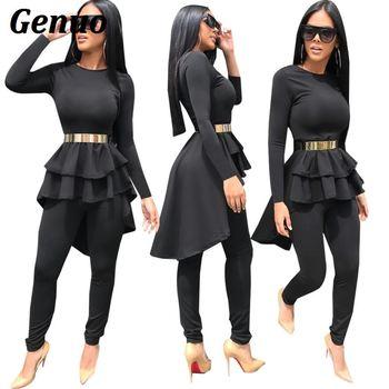 a6fdb51c5 Genuo negro vestido de volantes Top y pantalones dos piezas Set mujer  Tracksuit Casual 2 unidades establece trajes 2018 mujeres sólido trajes