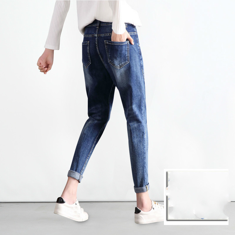 2019 Spring Summer New High Waist Boyfriend Jeans Women Blue Harem Denim Pants Mom Jean Femme For Women Jeans Plus Size 5XL