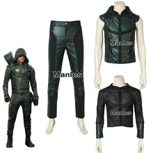 Green Arrow Oliver Queen Cosplay Costume Green Arrow Season 5 Superhero Clothing Male Halloween Leather Costume Adult Men Jacket