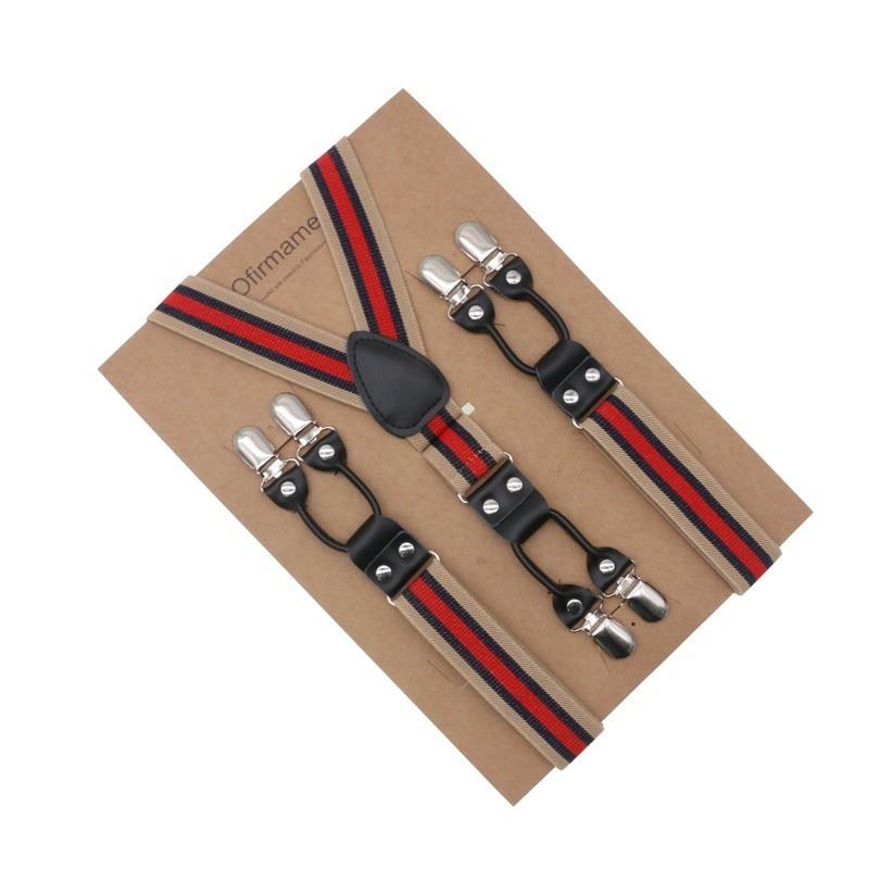 3cm Width Suspenders Men Leather Braces Adjustable 6 Clips Striped Suspenders Commercial Western Style
