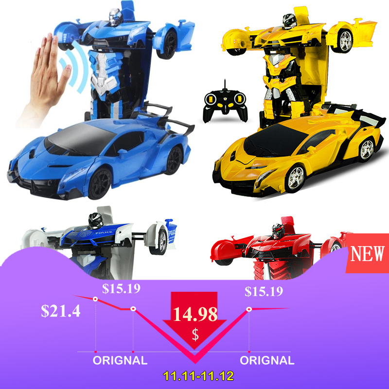 2In1 RC Car Sports Car Transformation Robots Models Remote Control Deformation Car RC fighting toy KidsChildren's Birthday GiFT цены