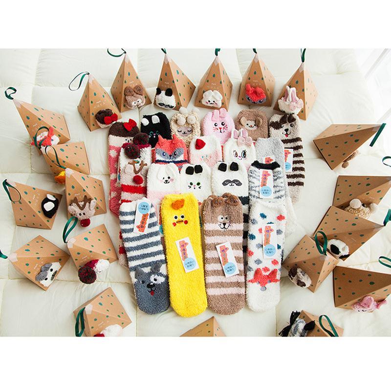 Miss M 1 3pcs Cute Embroidery Socks Women Cartoon Animals Pattern