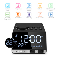 Inlife K11 Bluetooth 4.2 Radio Alarm Clock Speaker With 2 USB Ports With Bluetooth Speaker Snooze Function Z20