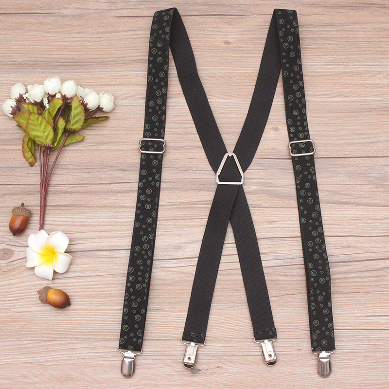ZhiAo Men/Women Clothing Clip-on Elastic X-Shape Adjustable Suspenders Mens Trouser Suspenders Printed Letter Braces