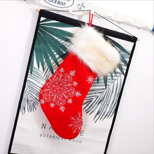 2 pcs 50cm Large Red Christmas Stockings Xmas Gift Bags Snowflake Embroidered Socks Decorations for Home