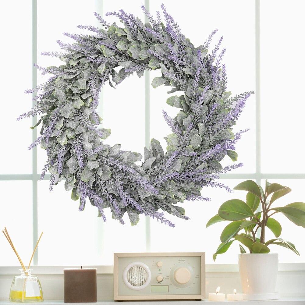 Artificial Door Hanging Wall Window Flower Green Leaf Wreath Home Party Decor