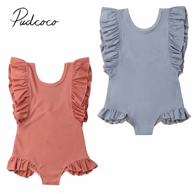 2019 Brand New Toddler Kids Baby Girl Swimwear Ruffles Sleeveless Solid Summer Swimsuit One Piece Bathing Swimming Suit 1-6T