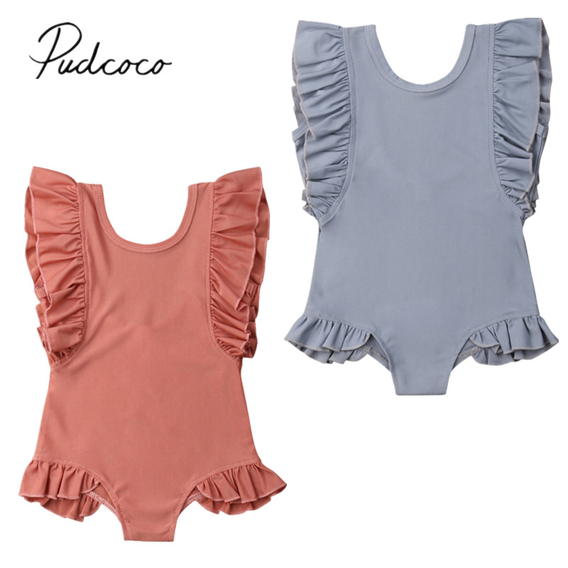 Swimwear Ruffles Toddler Sleeveless Bathing Baby-Girl Kids Summer Solid 1-6T One-Piece title=