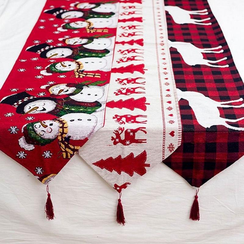 Classic Christmas Runner Reindeer Santa Claus Table Flag New Year Festival Decor