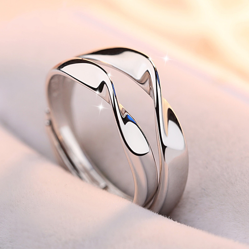 Korean Version 925 Sterling Silver Couple Rings for Unisex  A Pair of Simple Style Hand Jewelry Halloween
