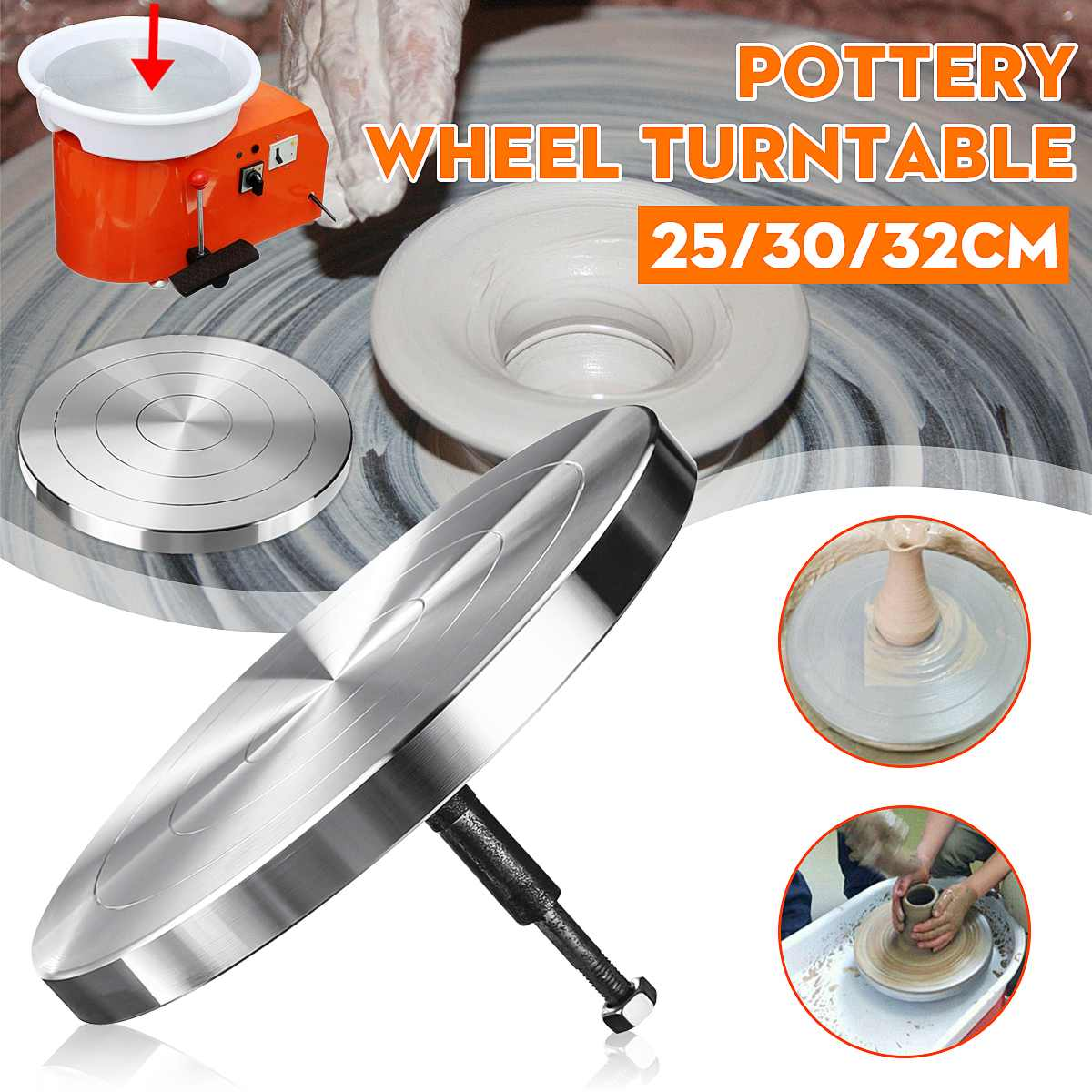 25//30CM Pottery Banding Wheel Metal Turntable Turnplate Clay Sculpture Modelling