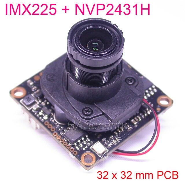 """32 × 32 ミリメートル AHD M (720 P) /CVBS 1/3 """"IMX225 の Exmor CMOS センサー + NVP2431 CCTV カメラの pcb ボードモジュール + OSD ケーブル + M12 LEN + IRC (UTC)"""