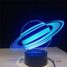 Saturn Tafellamp USB LED 3D Verlichting 7 Kleuren Novelty LED Night Lamp als Kinderen Speelgoed Geschenken Home Decor Drop verzending AW-1538(China)