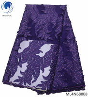BEAUTIFICAL nigerian lace fabrics mesh lace fabric french lace fabrics 2019 purple african tulle laces fabric 5yards/lot ML4N680