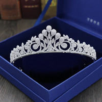 Full Zircon Leaf Tiara Copper Zircon Tiaras Micro Pave CZ Bride Crown Wedding Hair Jewelry Diadem Mariage Bijoux Coroa WIGO1042