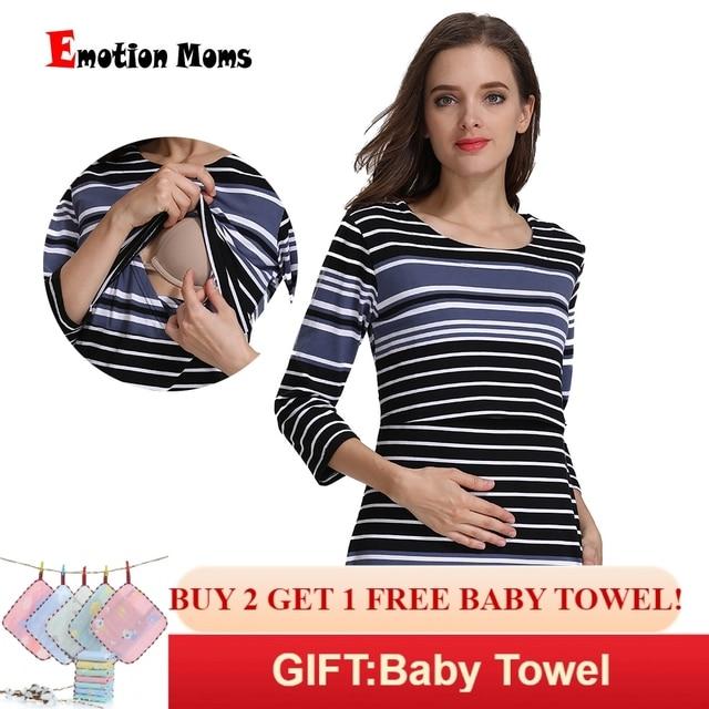 601e6bd0e La emoción de las madres de rayas de algodón Primavera Verano falda de  embarazo enfermería vestido