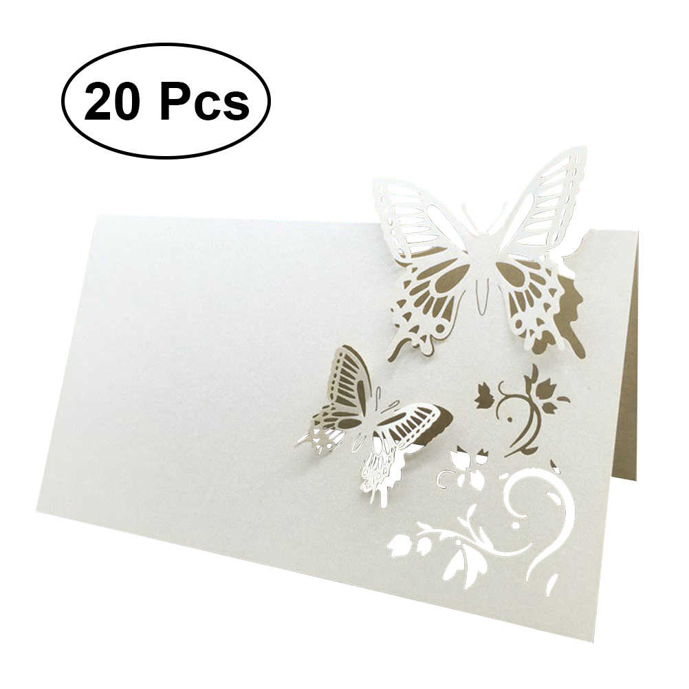 20pcs Table Name Place Cards Wedding Party Favor Decor Butterfly Laser Cut Design - Size Large Z08 90x120mm