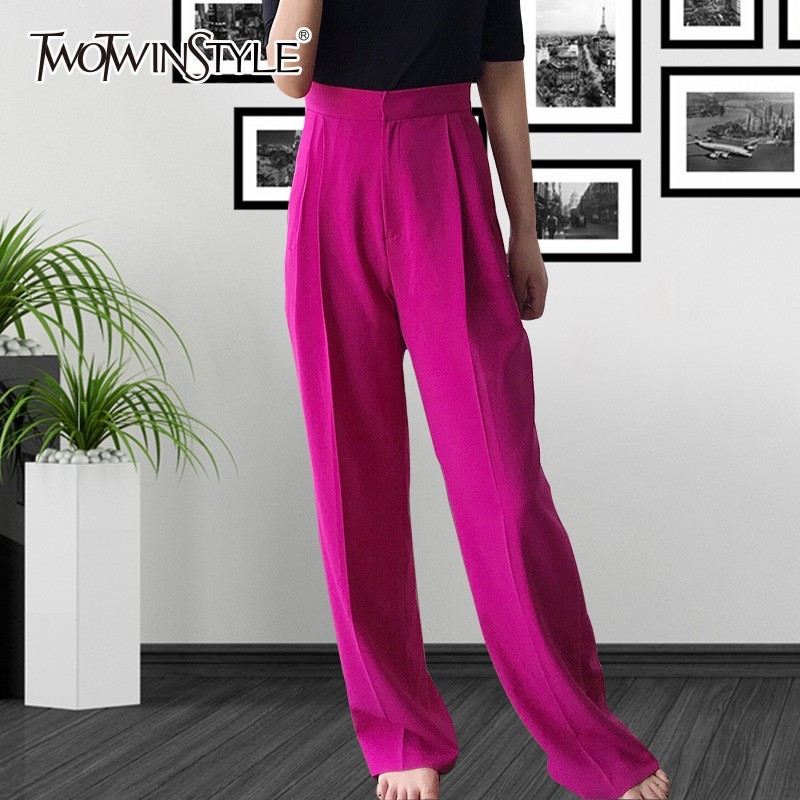 TWOTWINSTYLE Korean Long Trousers For Women High Waist Plus Thick   Wide     Leg     Pants   Female 2019 Spring Casual Fashion Clothes Tide