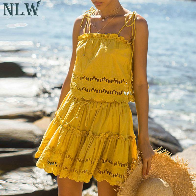 d04f0155f30528e NLW одноцветное кружево вышивка элегантный пляж костюмы для женщин Повседневное  Спагетти ремень плиссированное платье пикантные летние