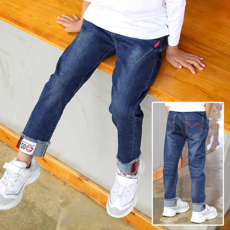 2019 New Children's clothes boy's jeans, Spring and autumn big boys casual leggings ankle length trousers kids fashion jeans