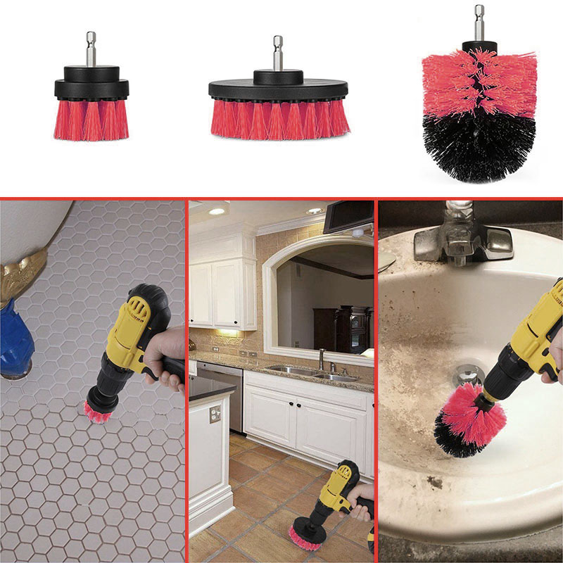 3 Pcs Set Drill Brush Kit Tub Cleaner Scrubber Cleaning Tool Brushes for Tile Grout Car Boat RV WXV Sale in Cleaning Brushes from Home Garden