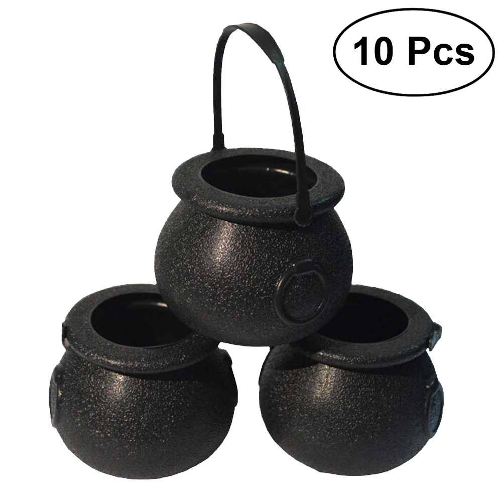 10pcs 5x7cm Halloween Candy Bucket Witch's Cauldron Trick Or Treat Candy Pail Holder