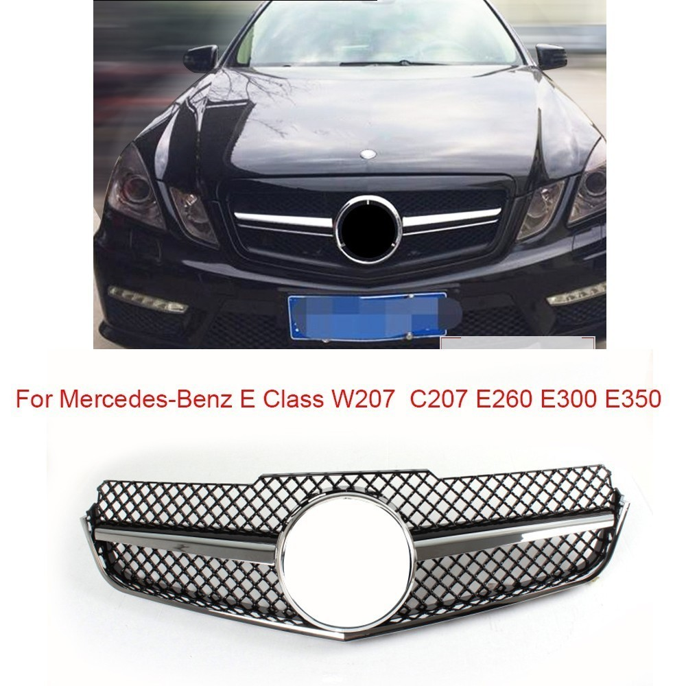 Передняя решетка для Mercedes Benz W207 C207 E класса E260 E300 E350 Coupe 2 двери ABS черный Передний Бампер решетка