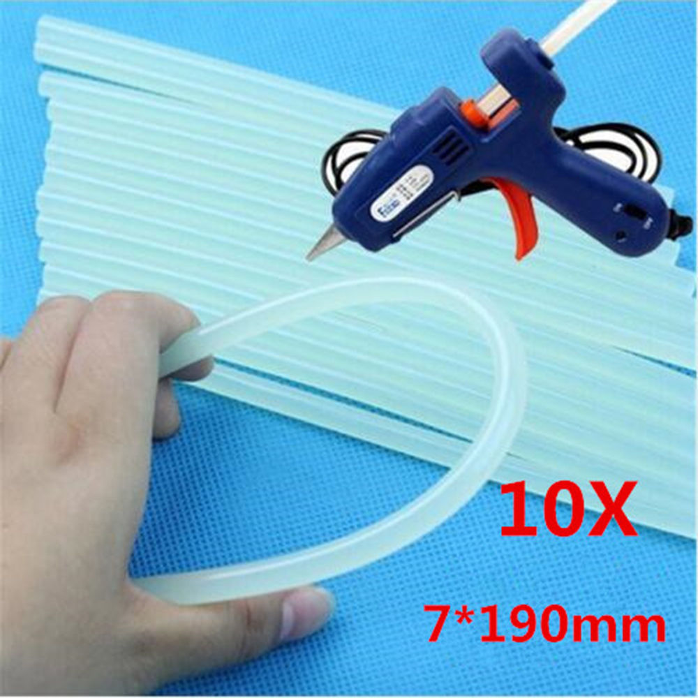 10 Pcs 7mmx190mm Clear Glue Adhesive Sticks For Hot Melt Glue Sticks For Glue Gun Car Audio Craft Alloy Accessories