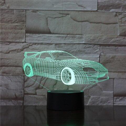 super carro esportivo nightlight led 3d ilusao