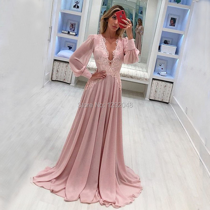 YNQNFS MD85 robe de soirée élégante en mousseline de soie col en V manches longues mère de la mariée/le marié robes robes formelles vraies photos 2018