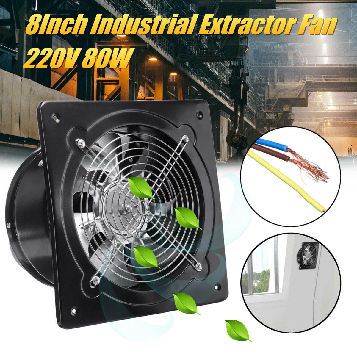 8 pouces 220 V 80 W en acier inoxydable panneau ventilateur industriel ventilation ventilateur en métal montage mural ventilateur d'échappement cuisine fenêtre extracteur