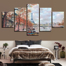 Decor Living Room Wall Printed Artworks Landscape Frame 5 Pieces Paris Tower Bridge Paintings Art Modular Pictures Canvas Poster