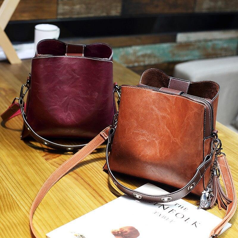 2019 Vintage Bucket Genuine Leather Luxury Handbags Women Messenger Ladies Bag Famous Brand Shoulder Bags Female Modis Pochette