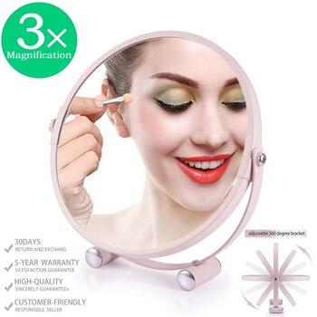 """Espejo de maquillaje de doble cara con aumento 1X/3X, espejo de tocador para maquillaje de 6,7 """", tocador de baño con giro de sobremesa 360, espejo cosmético"""
