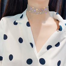 FYUAN Shiny Full Rhinestone Choker Necklaces for Women 2019 Bijoux Silver Color Crystal Necklaces Statement Jewelry Party Gifts fyuan shiny full rhinestone choker necklaces for women 2019 bijoux silver color crystal necklaces statement jewelry party gifts