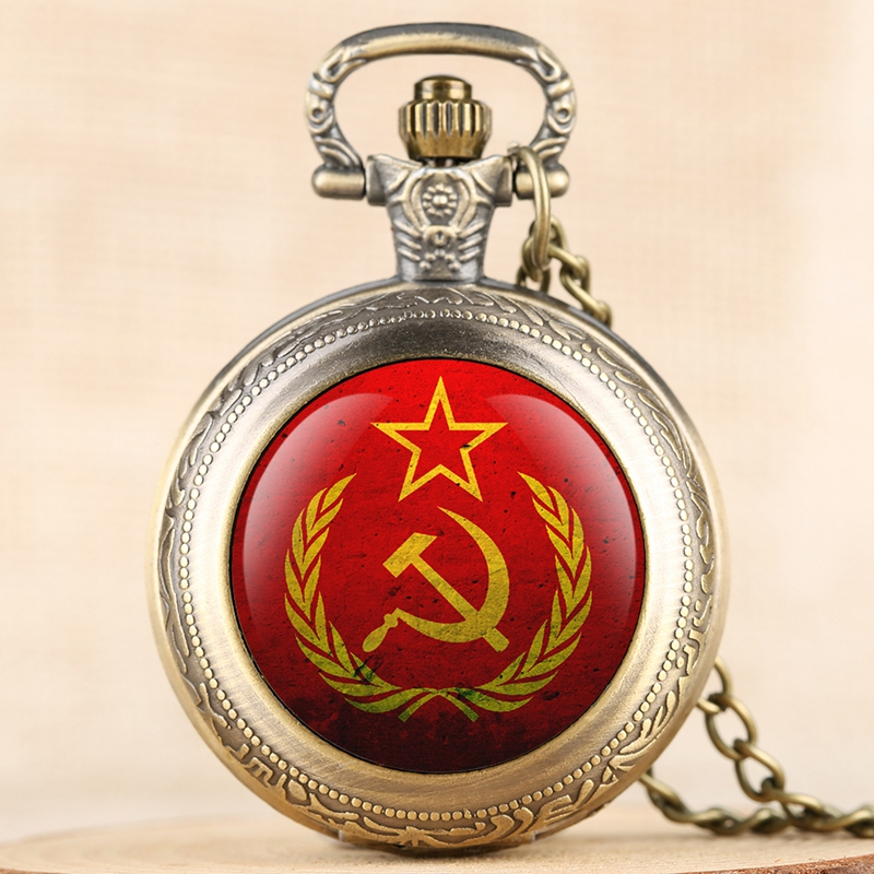 Party Emblem USSR Soviet Badges Hammer Sickle Quartz Pocket Watch Russian Army CCCP Communism Necklace Clock Chain For Men Women