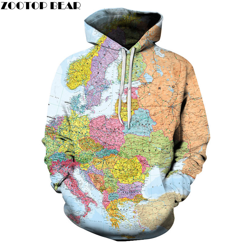 Europe Map 3D Printed Spring Casual Hoody Sweatshirts Men Tracksuit Hoodies Pullover Streetwear Cloth Unisex DropShip ZOOTOPBEAR