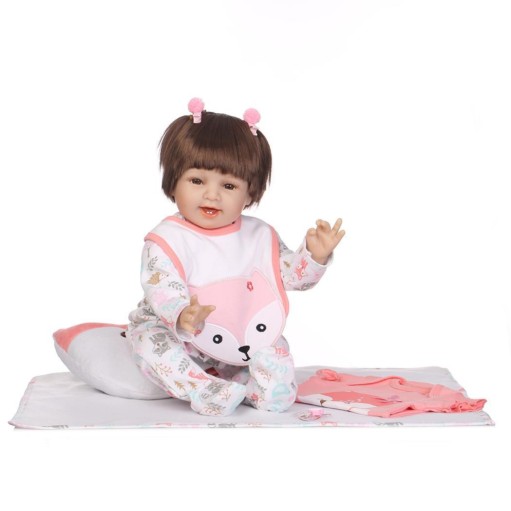 Kids Soft Silicone Realistic With Clothes Reborn Baby Doll Pink Unisex Collectibles, Gift, Playmate 2-4Years