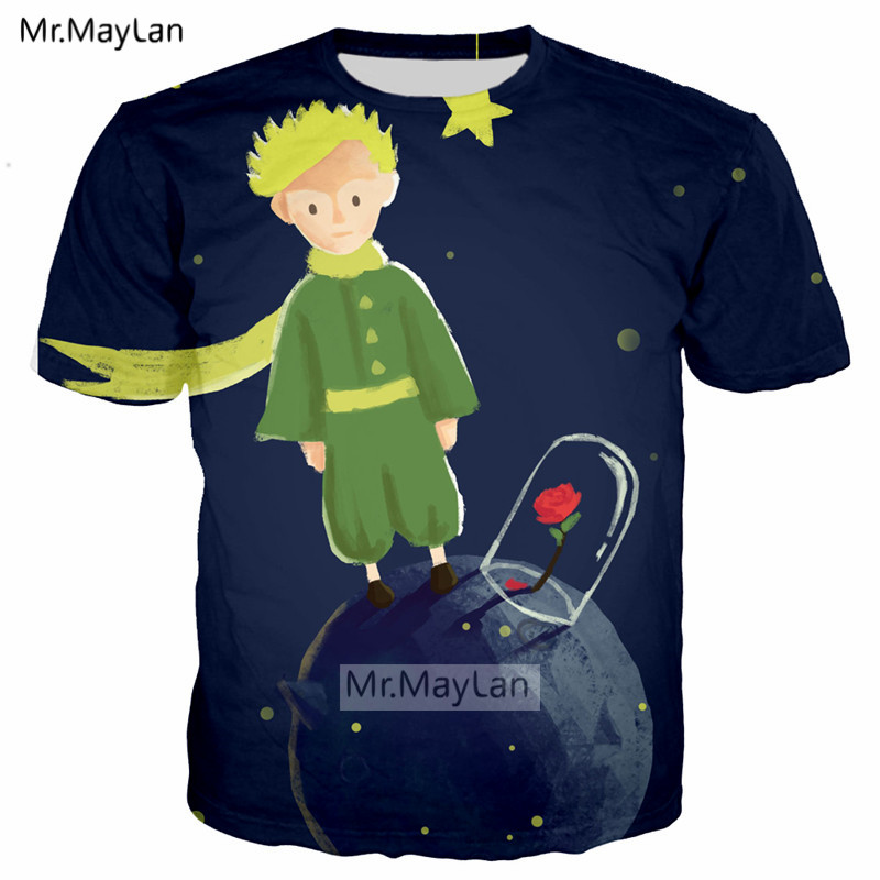 French Le Petit Prince n Wolf Rose 3D Print T shirt Men Women Streetwear Tshirts Girls Casual Tee Tshirt Men 39 s Hipster Clothes in T Shirts from Men 39 s Clothing