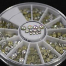 200 шт Горячие 3 размера вместе многоцветный белый заклепки горный хрусталь Дизайн ногтей украшения 6 см 12 Сетки ногтей поворотный стол