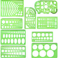 6pcs/9pcs Set Green Plastic Circle And Oval Templates Measuring Templates Rulers Digital Drawing For Office