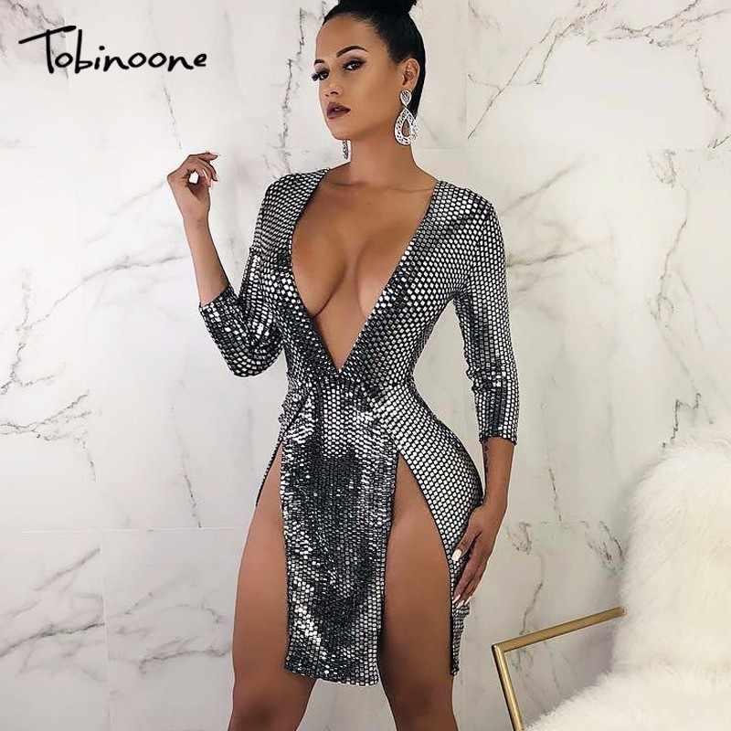 Tobinoone 2018 Bodycon Dress Women V Neck Sexy Dress Elegant Silver High  Split Mini Autumn Sequined 6e01bd5e57a3