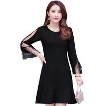 Elegant New Spring Summer Women Dress Casual Black Mesh Patchwork O-neck Long Sleeve Slim Party Dresses Vestidos Plus Size 5XL цены