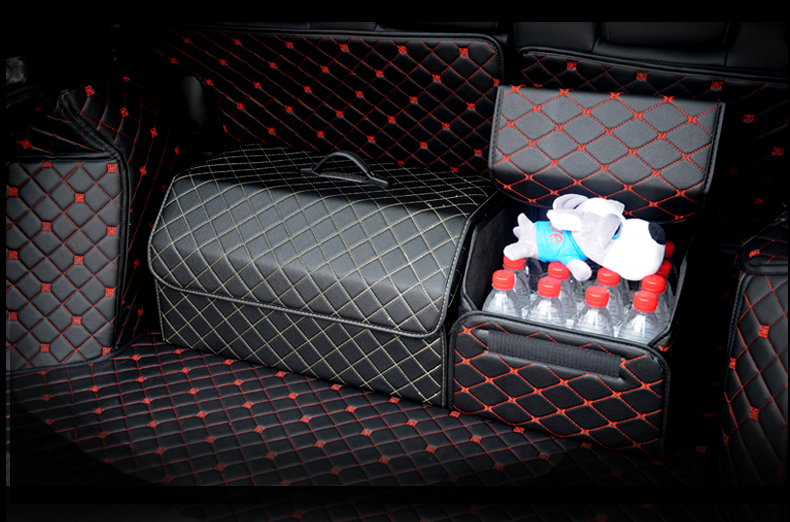 Image 4 - Car Trunk Organizer Box Storage Bag Auto Trash Tool Bag PU Leather Folding Large Cargo Storage Stowing Tidying Car Accessories-in Stowing Tidying from Automobiles & Motorcycles